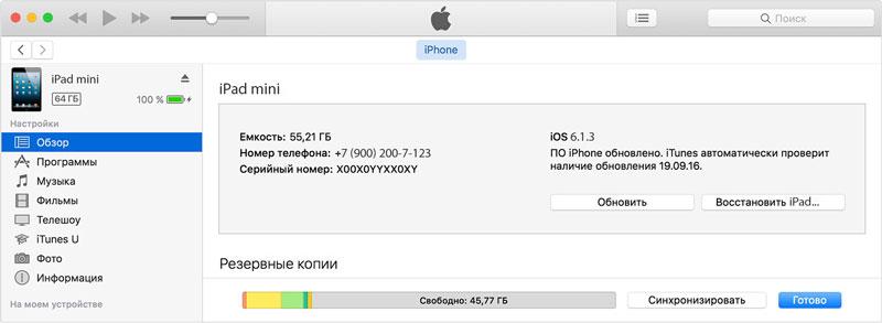 Разблокировать / Восстановить iPad mini